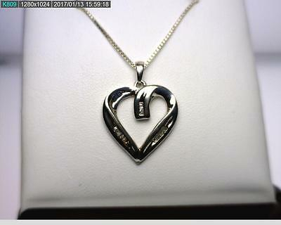 "18"" Sterling Silver .08CTTW Baguette Diamond Heart Necklace 4.4 grams (B7654)"
