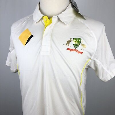 5fe574d04b0 NEW Asics Cricket Australia 2018/19 Test Shirt Medium White Yellow Jersey  NWT