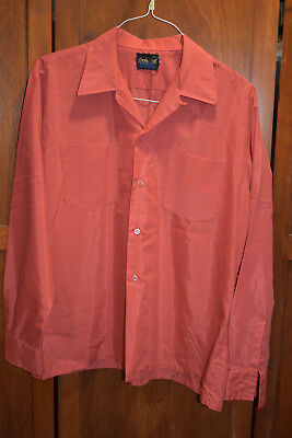 Vintage 1970s Orange Solid WIde Collar Disco-Style Shirt L