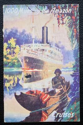 Booth Line Rare 1000 Miles Up The Amazon Cruises Postcard Flyer Fantastic Cvover