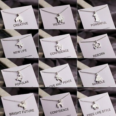 Fashion Silver Plated Chinese 12 Zodiac Animal Pendant Necklace Birthday Gifts