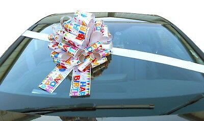 "MEGA BIG CAR BOW (16"") for Cars and Large Birthday Gifts - HAPPY BIRTHDAY"
