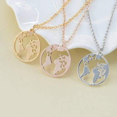 Fashion Women Stainless Steel Round Map Cactus Hollow Pendant Necklace Jewelry