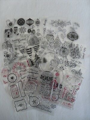 Job Lot Of Unused Christmas Clear Stamps For Cardmaking Etc.