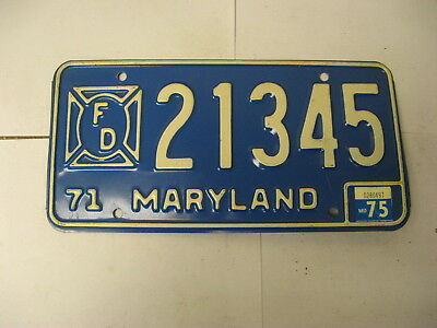 1971 71 1975 75 Maryland MD License Plate 21345 FD FIRE DEPARTMENT FIGHTER