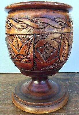 "Antique Big Wood Hand Carved Turned Footed Vase Large 11.5 x 8"" Trees & Fruit"
