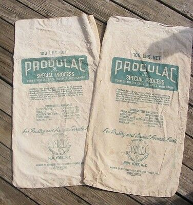2 Vintage Linen Farm Corn Mash Feed Bags - National Distillers Bourbon Whiskey