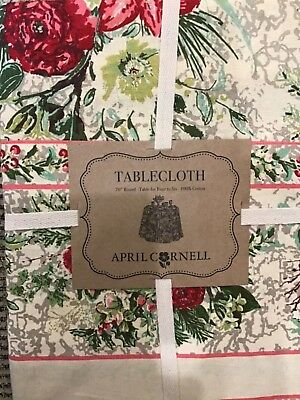 April Cornell  70  Inch Round Tablecloth Cream Gray Pink Floral  Nip