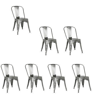 Polished Gunmetal Tolix Stack Industrial Dining Chair Commercial Quality 1 2 4