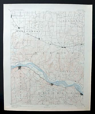 Hermann Missouri Antique USGS Topo Map 1890 Montgomery City Washington Warrenton