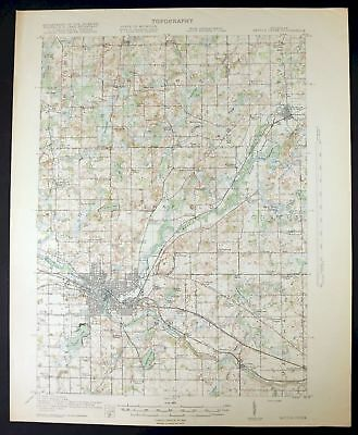 1918 Battle Creek Michigan Springfield Bellevue Antique USGS Topo Map