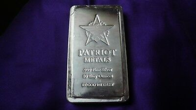 10 oz .999 Silver Patriot Metals Stacker Bullion Bar by Scottsdale Mint