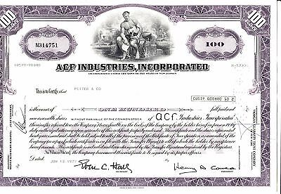 ACF Industries, Incorporated vom 13.06.1977 über 100 shares