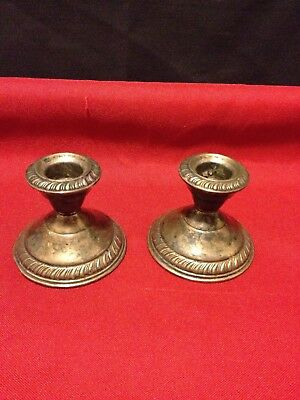 Vintage Sterling Silver Pair Of Candlestick Holders Cement Filled Reinforced