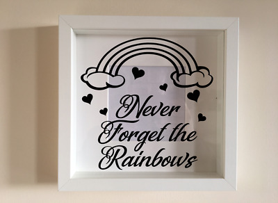 IKEA RIBBA Box Frame Personalised Vinyl Wall Art Never forget the Rainbows