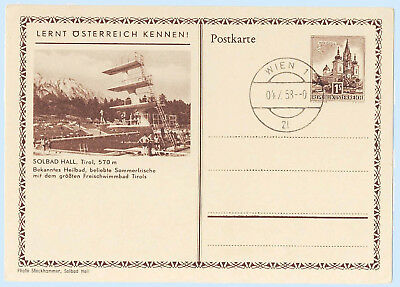 Austria 1958 Postal Stationery View Card H&G 360 Solbad Hall Diving Board