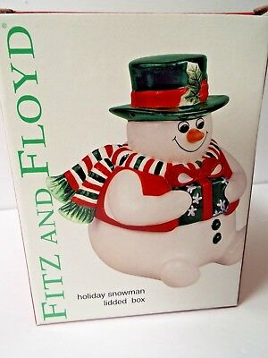 "New 2003 Fitz & Floyd Holiday 7"" Snowman Lidded Box Christmas SHIPSFREE!"