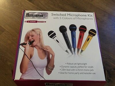 5 X Karaoke Microphones 5 Different Colours Great Xmas Pressie
