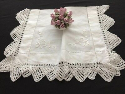 Lovely Vintage Irish Linen Whitework Embroidered Crochet Lace Edged Tablecloth