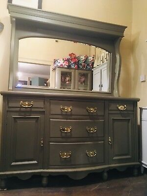 Edwardian Bow Fronted Painted Oak Chiffonier