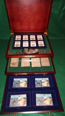 Collection of Gold & Silver Shipwreck coins and Colonial Notes w/Display chest