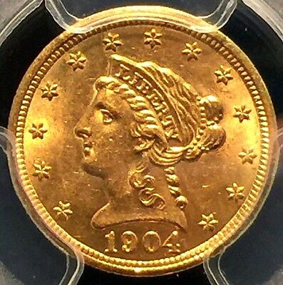 1904 $2.50 Gold Liberty Quarter Eagle MS-63 PCGS No Reserve Auction !!!!!!