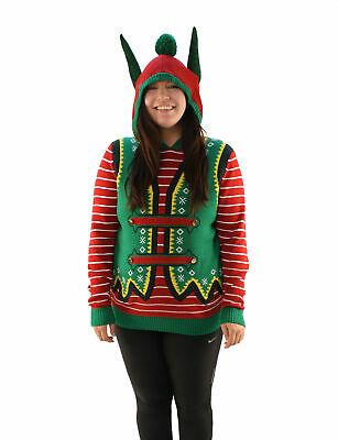 30fc999f Ugly Christmas Sweater Plus Size Women's Hooded Elf Ear Pullover Sweatshirt