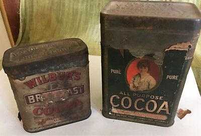 Set of two vintage cocoa tins, likely 100+ years old. Runkle's and H.O. Wilber