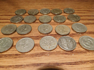 United Kingdom Great Britain UK British Lot of 20 Twenty 1 One Pound Coins