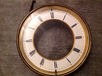 Antique Clock Brass Bezel Bevelled Glass Enamel Dial Solid 152mm Diameter