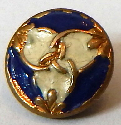 Wee Little Antique Gilt Brass & Enamel Young Gent's Weskit Button