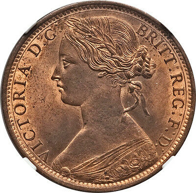 Great Britain 1862 Victoria Penny NGC MS-65 RB