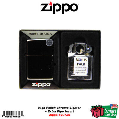 Zippo Classic High Polish Chrome Lighter + Pipe Insert Combo #29789