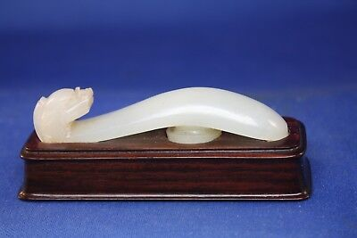 Antique Chinese Dragon carved white Nephrite Jade Belt Hook, Qing Dynasty.