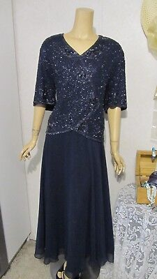 Mother Of The Bride Dress by Laurence Kazar-Size 2X-Navy Illusion Beaded Gown
