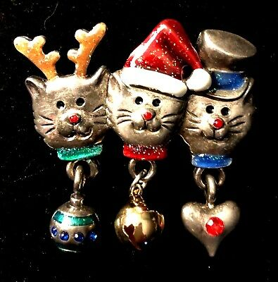 3 Vintage Winter Holiday Christmas Cats Kittens Pin Broach Brooch Jewelry