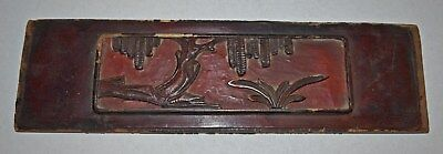 Antique Chinese Carved Wood Panel Qing Dynasty Trees Firecrackers?