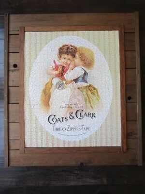 Vintage  Puzzle  COATS AND CLARK  Thread   22 x 18   Framed   Ready To Hang