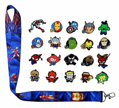 Marvel Iron Man Lanyard Set w/ 5 Themed Disney Park Trading Pins ~ Brand NEW