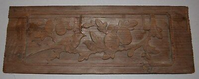 Antique Chinese Carved Wood Panel Qing Dynasty Birds and Flowers