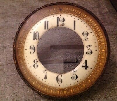 Antique Clock Brass Bezel Bevelled Glass Enamel Dial Solid 123mm Diameter