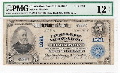 Fr 599 $5 Plain Back National Bank Note - Charleston SC PCGS Fine 12