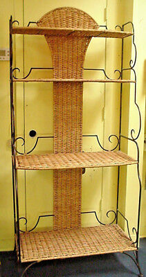Wrought Iron & Wicker Bakers Rack Etagere Shelf High End Decorator Item