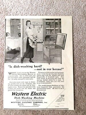 Western Electric Dishwasher Magazine Ad - Vintage B/W Ad