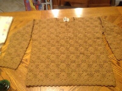 Brand New- Vintage Hand Made Crochet Knit 100% Wool Sweater Large