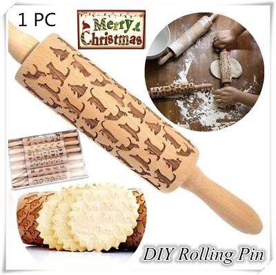 Christmas Rolling Pin Engraved Rolling Pin Wooden Embossing Embossed Cat Print W