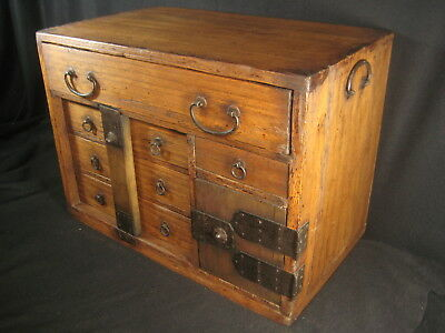 Antique Japanese 7 Drawer Solid Paulownia Wood Bow-Dansu Personal Tansu Chest