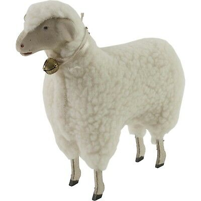 """Wooly Easter German Style White Sheep Lamb Figure with Bell 5 1/2"""" Size Putz"""
