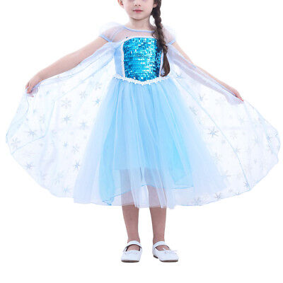 Girls Snowflake Princess Party Dress Up Christmas Costume Dressing Gown Baby Kid