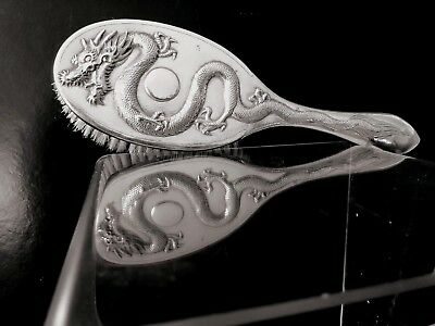 Chinese export silver dragon brush